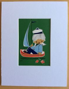 Jaklien Moerman Retro Postcard mounted and ready to frame Hello Sailor