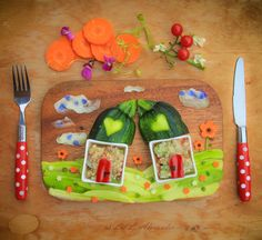 Quinoa pilaf and raw vegetables from my organic garden. A lovestory with two small houses on the hill and a kiss... :) www.lillalexander.com #foodart #pickyeaters #bento #funfood #childrenfood #veggies