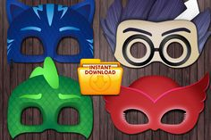 PJ Masks Printable DIY Mask Favor - Custom DIY by PartyDesignsDIY on Etsy https://www.etsy.com/listing/263021048/pj-masks-printable-diy-mask-favor-custom