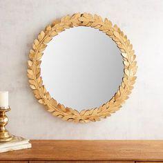 """Golden Laurel Leaf 30"""" Round Mirror"""