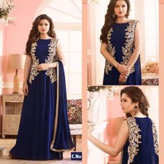 New Blue Designer Suit  Product Info :  Top : Georgette Bottom : Santoon Dupatta : Nazneen Work : Embroidery Size : Free Type : Semi Stitching  Sleves : Full Slevess wash care : dry clean  Price : 1700 INR  Book the look @ WhatsApp : +91 9054562754 ❤️ Cash On Delivery In India +  Ship to worldwide