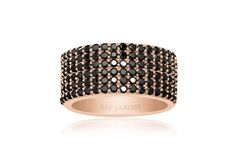 Corte Cinque Ring rose gold plated with black zirconia stones.