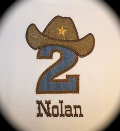 Appliqued Nolan Cowboy Birthday Number Shirt  by BelaLiliMonogram, $22.00