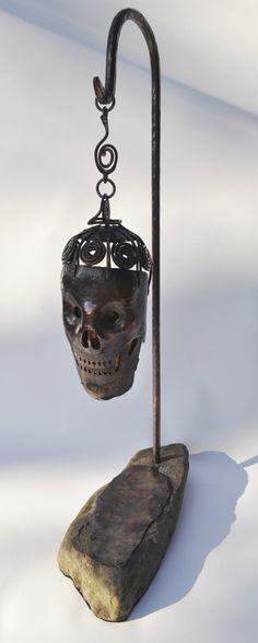 Todd Conover Skull Candle Lamp 2013 copper, stone, mica