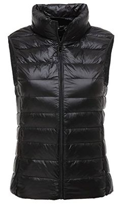 fd31ff79386 Cruiize Women s Outdoor Stand Collar Sleeveless Lightweight Puffer Vest  Black X-Large