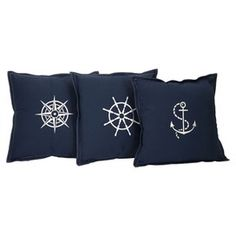 Admiral Pillow - Set of 3.  Anchor, wheel, and compass.