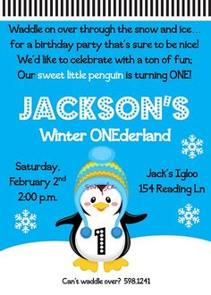 Snowy Winter ONEderland Printable Birthday Party Invitation File
