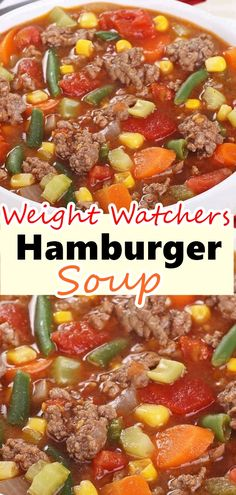 Hamburger Soup is a quick and easy meal loaded with vegetables, lean beef, diced tomatoes and potatoes. It's great made ahead of time, budget friendly, reheats well and freezes perfectly. We serve this easy Hamburger Soup with a fresh green salad and some Plats Weight Watchers, Weight Watcher Dinners, Weight Watcher Points, Weight Watcher Recipes, Weight Watchers Chili, Ww Recipes, Skinny Recipes, Healthy Recipes, Skinny Meals