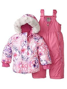 24e9dbb31 Zero Xposur Infant & Toddler Girls Pink Floral Snow Bibs & Fur Coat Snowsuit  12m.