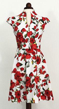 Summer dress, floral dress, vintage style dress, red and white dress, red rose dress, midi dress, mid-length dress, cotton dress, 50s dress