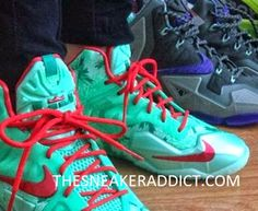 3590967f3ceb91 Here is a look at the Nike Lebron Christmas 11 Sneaker on feet