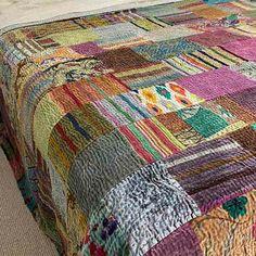 Silk Velvet Patchwork Kantha Quilt Mist Blue Velvet Bedspread, Blue Quilts, Queen Quilt, Kantha Quilt, Bedroom Styles, Luxurious Bedrooms, Blue Velvet, Quilt Making, Quilting Designs