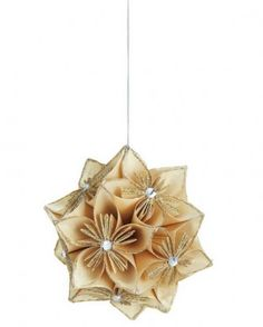Christmas Decorations silver and gold, used fabric flowers, lace and tulle, lace and decorations decoupage