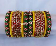 Silk Thread Bangles Design, Silk Bangles, Bridal Bangles, Thread Jewellery, Beaded Necklace Patterns, Jewelry Patterns, Jewelry Crafts, Handmade Jewelry, Ankle Jewelry