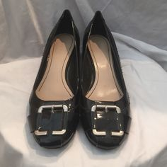 Nine West patent leather wedge Low wedge, comfortable. Cute for work. Gently loved and in great condition Nine West Shoes Wedges
