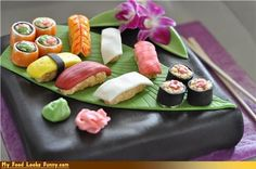 Sushi cake - idea for Peters birthday, use rice crispies with white chocolate for the rice then shaped? Creative Desserts, Creative Cakes, Sushi Cake, Sushi Cupcakes, Birthday Cake Writing, Chef Cake, Pastry Cake, Food Humor, Pretty Cakes