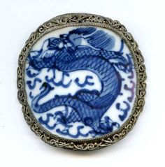 Vtg Silver Filigree Chinese Porcelain Ming Dynasty Blue Wht Shard Box Cover TLC #Unknown