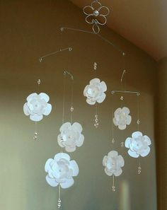 Crystal Baby Mobile | Flower & crystal mobile to hang above crib