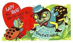Anthropomorphic Spider and Lady Bug Valentines Vintage Unused Greeting Card | eBay