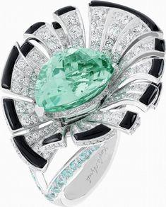 Van Cleef & Arpels | Palais de la Chance ring | white gold, diamonds, onyx, tourmalines