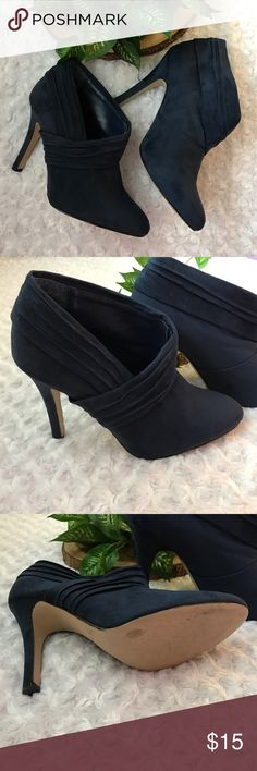 """⚡️FINAL⚡️Faux Suede Ruched Booties These navy faux suede ruched at ankle booties will keep you fashionably focused on creating your next masterpiece. Heel Height 4.5"""". Size 9.  EUC. Gently worn. No Trades! Bundle and Save! Inquire below with questions. PRICE IS NOW FIRM! Thanks for looking, sharing, and saving! Shoes Ankle Boots & Booties"""
