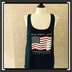 NEW Old Navy Tank Top Racerback Patriotic L Graphic Patriotic Old Navy Racerback Tank Top Large L Cotton blend Navy Blue New with Tags  Trades Old Navy Tops Tank Tops