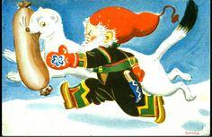 Julekort George Schumann  Mår har stukket av med julepølsa. Nisse løper etter. Utg TS postgått 1949