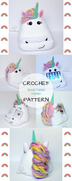 CROCHET PATTERN Alice the Unicorn Book Tablet Holder. My daughter would love this book holder for her daily reading. It would make it that much more fun for her. #ad #unicorn #tabletstand #tabletholder