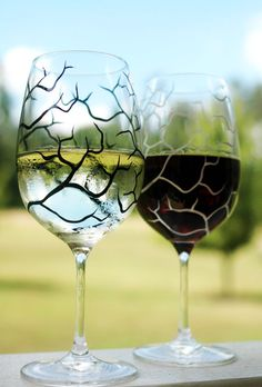 wine glasses super easy to make. Clean wine glasses with rubbing alcohol to remove any oils. Use a small round or flat brush and enamel paint (I like Folk Art enamels). Paint design. Let cure for suggested amount of time. (You can bake some items to 'cure' them, but I would be very cautious with wine glasses.