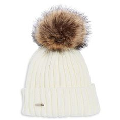 Jewellery & Accessories   Hats, Gloves & Scarves   Faux Fur Pom Pom Ribbed Beanie   Hudson's Bay