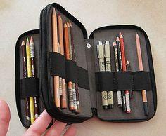 48 PENCIL STORAGE CASE - includes 35 colored drawing pencils Micron pens ART SET