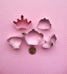 Mini Tea Party Cookie Cutters - Mini Princess Cookie Cutters - Mini Tea Party Fondant Cutters  - Tea Party Cookie Cutter. $11.98, via Etsy.