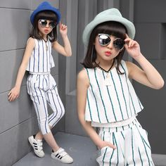 Girls clothing sets 2019 summer fashion striped vest T-shirt pants two pieces kids tracksuit children clothing set kids clothes. Little Girl Fashion, Fashion Kids, Fashion Outfits, Suit Fashion, Dresses Kids Girl, Kids Outfits, Outfit Sets, Clothing Sets, Kid Outfits
