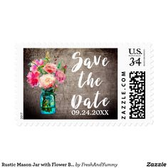 Rustic Mason Jar with Flower Bouquet Save the Date Postage These rustic mason jar with flower bouquet save the date postage stamps are perfect for a floral country theme wedding. The design features an elegant arrangement of blush pink watercolor peonies and wildflowers in a blue mason jar on a wood textured background. Personalize the stamps with your wedding date.