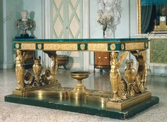 France, 1819, Pierre-Philippe Thomire (1751–1843). Bronze, gilded, malachite table.