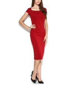 Burgundy Cap-Sleeve Dress #zulily #zulilyfinds