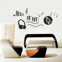 Headphones Music Note Disco Music Wall Stickers Waterproof Removeable Vinyl Home Decor Art Mural Tattoos Wall Stickers China Mainland