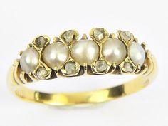 QUALITY ANTIQUE EDWARDIAN ENGLISH 18K GOLD PEARL & ROSE CUT DIAMOND RING c1910