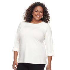 Plus Size Croft & Barrow® Sleeve Lace Tee, White