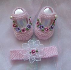 BOOTIES & HEADBAND SETS  Available to order you can find me on facebook at https://www.facebook.com/just2cuteknits?ref=hl