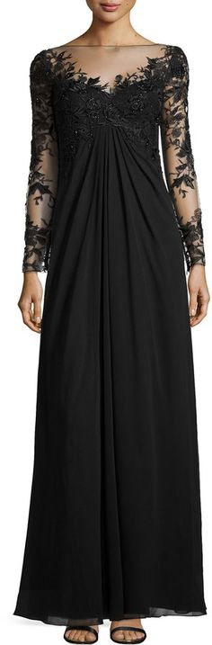 Monique Lhuillier Bridesmaids Embroidered Sleeve & Bodice Gown, Black on shopstyle.com