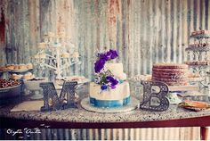Love the elegance of the table setting against the rustic corrugated metal background! Art Deco Wedding, Mod Wedding, Rustic Wedding, Dream Wedding, Vintage Dessert Tables, Wedding Sweets, Wedding Cakes, Gold Bridal Showers, Corrugated Metal