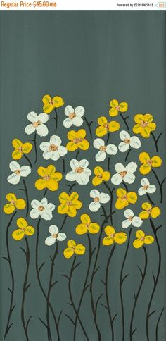 yellow grey white flowers painting Heavy Texture by QiQiGallery