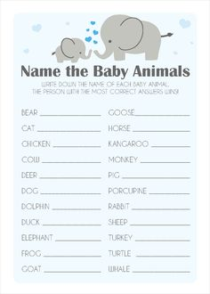 Ideas Baby Shower Boy Ideas Elephant For 2019 Baby Shower Prizes, Boy Baby Shower Themes, Baby Shower Fun, Baby Shower Cards, Baby Shower Gender Reveal, Shower Games, Baby Gender, Elephant Baby Showers, Baby Elephant