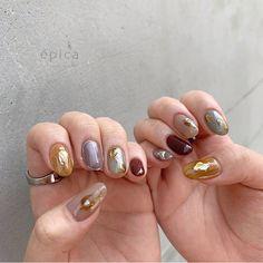 épica by ruccaさん. Minimalist Nails, Cute Nails, Pretty Nails, Hair And Nails, My Nails, Nail Manicure, Nail Polish, Picasso Nails, Korea Nail