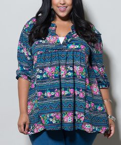 266043df33e Love this Blue Floral Iris Tunic - Plus by Sealed With a Kiss Designs on