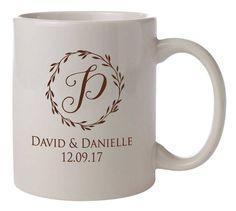 "Wedding Mugs ""Laurel Wreath"" 72 Personalized Ceramic Coffee Mugs Custom Printed Wedding Favors Gifts Vitrified Ceramic Coffee Cocoa Bar by Factory21 on Etsy"