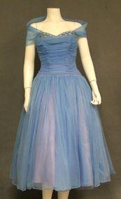 Strapless Floating Blue Chiffon Cocktail Dress w/ Shoulder Wrap