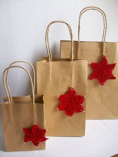 Paper Gift Bags handmade Christmas Ornaments by by MyDreamCrochets, $15.00