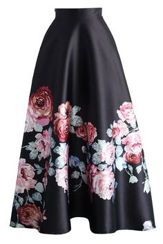 Blossoming Black High Waist Maxi Skirt